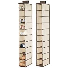 mDesign's fabric storage organizers are functional and stylish. This hanging shoe holder takes your organization vertical and gives you back valuable floor space in bedroom or hallway closets. It features ten shelves to store shoes, accessori...