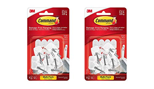 - Command Wire Hooks Value Pack, Small, White, 9-Hooks (17067-9ES) 2pack