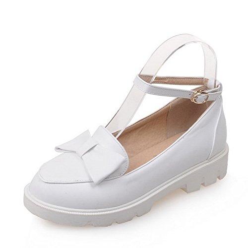 Balamasa Femmes Arcs Boucles Métalliques Carrés Talons Chaussures En Uréthane Blanc