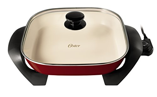 Oster DuraCeramic Electric Skillet CKSTSKFM12MR-ECO, 12-Inch, Candy Apple Red