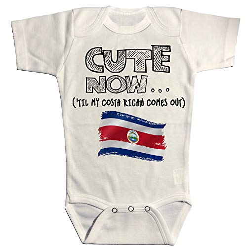Cute Now Baby Costa Rica Bodysuit Til My Costa Rican Comes Out Country Pride Baby/Infant Jumpsuit in White Pick Size NB-18M (6M) (Live In Costa Rica For 6 Months)
