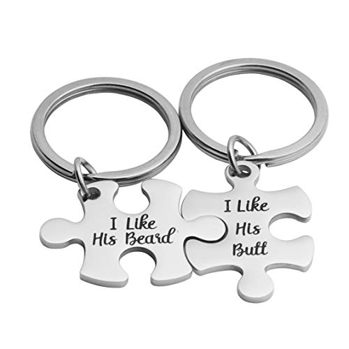 JINGMARUO Gay Couples Gifts I Like His Butt & I Like His Beard Keychain Set Gay Boyfriend Gift LGBT Jewelry