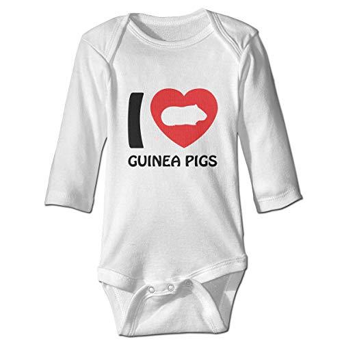 (Moulton Mansfield I Love Guinea Pigs Unisex Baby Newborn Long Sleeve Onesies Bodysuits)