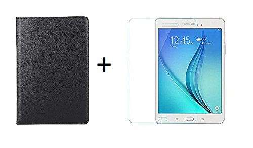 Lively Leather Flip Cover Black + Tempered Glass For Samsung Galaxy Tab A 8.0 T350 / T351  Combo Pack  Tablet Accessories