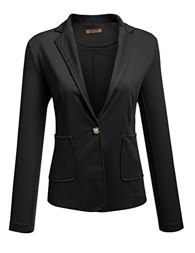 ACEVOG Women's Long Sleeve Casual Office Open Front Single Button Notch Lapel Patchwork Elbow Blazer Jacket,Black2,Small