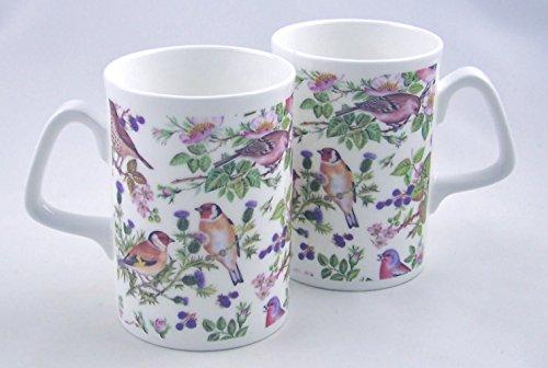 Pair Fine English Bone China Coffee Mugs Wild Bird Chintz
