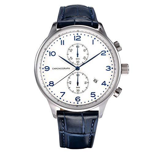 (BU-FU Men's Chronograph Analog Quartz Watch,Fashion Casual Business Waterproof Leather Watch, for Men Leather Chronograph,1)