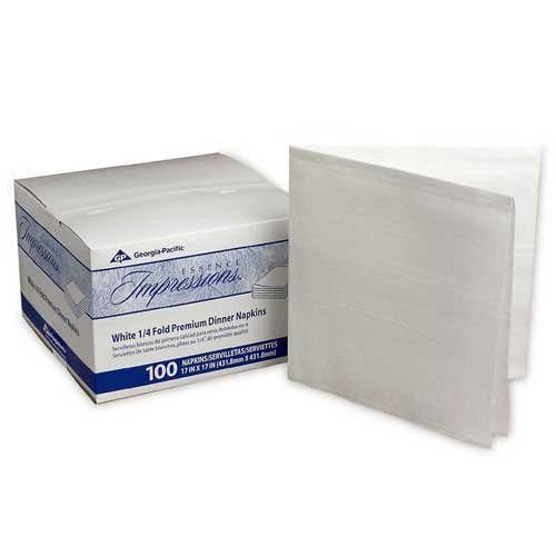 Essence Impressions 17x17 1/4-Fold Linen Replacement Dinner Napkins White -- 800 per case.