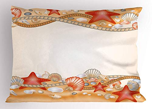 K0k2t0 Beach Pillow Sham, Sand Seashells Starfish and Ropes Marine Inspirations Abstract Coast, Decorative Standard Queen Size Printed Pillowcase, 30 X 20 inches, Pale Orange Vermilion ()