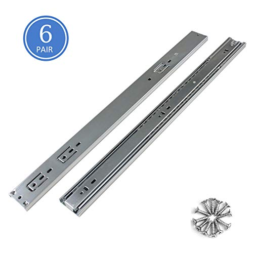 22 Inch Full Extension Ball Bearing Soft Close Slides 80 LB Capacity Kitchen Cabinet Drawer Slides,Screws are Included (22 Inch 6 Pair), 100lb Load Capacity