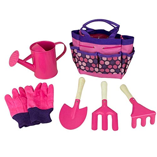 Pink chidren's garden tool set includes trowel, fork & hand rake together with watering can, garden gloves and tote bag to store everything tidily.