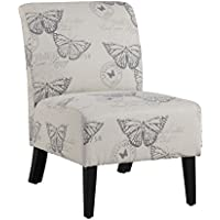 Linon 98320BUTT01U Linen Lily Chair, Butterfly