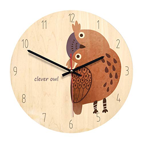 Zdtxkj 1Pc Round Wall Clock Simple Owl Pattern Modern Acrylic Decorative Wooden Clock Wall Clock for Office Bedroom Kitchen Living Room ()