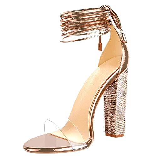 VANDIMI High Heel Sandals for Women Clear Heels with Rhinestone Ankle Strappy Lace Up Block Heel Diamante Dress Party Shoes Rose Gold - Heel Lace Up Shoes