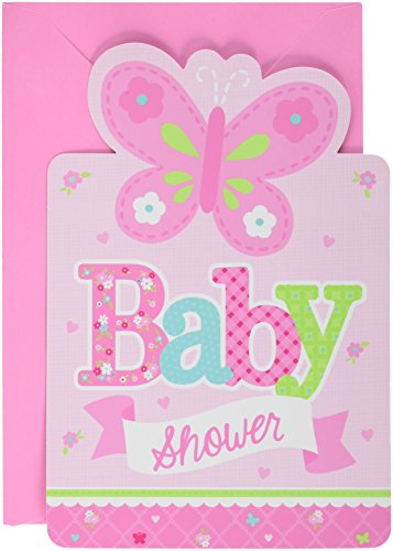Amscan Appealing Welcome Little One-Girl Postcard Invitations Baby Shower Party Cards Supplies]()