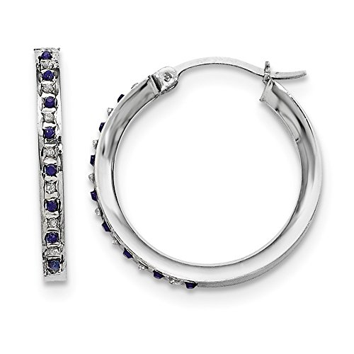 - 925 Sterling Silver Diamond Mystique Dia/sapphire Round Hoop Earrings Ear Hoops Set Fine Jewelry Gifts For Women For Her