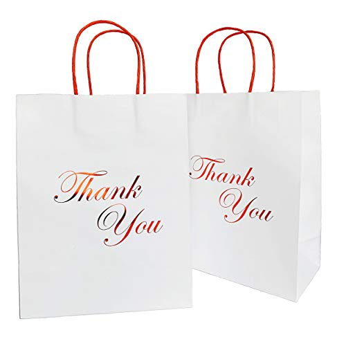 SKYSTARS 24 Pcs White Paper Bags Bulk with Red Handles and Printed Red Gold Foil Thank You - 8