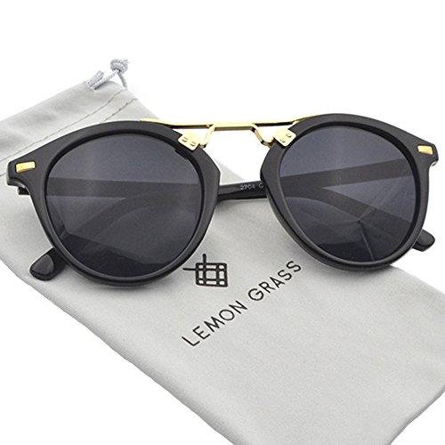 Womens Sunglasses Vintage Retro Round Mirrored Lens Horned Rim Sunglasses (Black, ()
