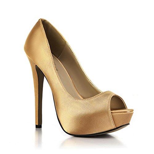 Oro mujer Peep básicas Sandalias 14CM Best Platform Faux de 4U® verano EU38 Shoes bombas toe Tacones 3CM Wedding Sole altos Cómodas para Silk Rubber XPqfwBq