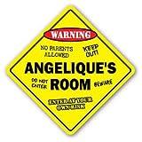 ANGELIQUE'S ROOM Sticker Sign kids bedroom decor door children's name boy girl gift - Sticker Graphic Personalized Custom Sticker Graphic