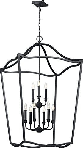 Feiss F2977/9AF Yarmouth Candle Chandelier Pendant Lighting, Iron, 9-Light (26