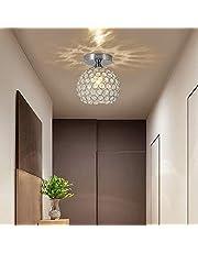 DAXGD kristallen plafondlamp moderne kristallen plafondlamp led kandelaar bal mini plafondlamp met ijzeren schaduw voor woonkamer, slaapkamer, gang, warm wit