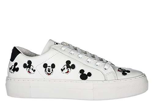 MOA Donna Bianco in Arts Scarpe Sneakers Pelle Nuove Master Mickey of rXwHqrg
