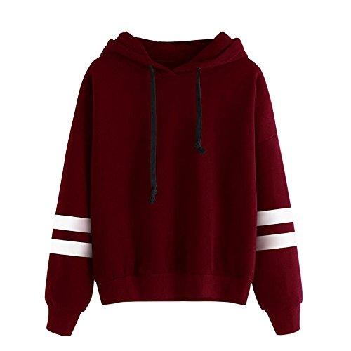 - Sunhusing Womens Solid Color Plush Long Sleeve Hoodie Sweatshirt Stripe Splicing Jumper Hooded Pullover Tops