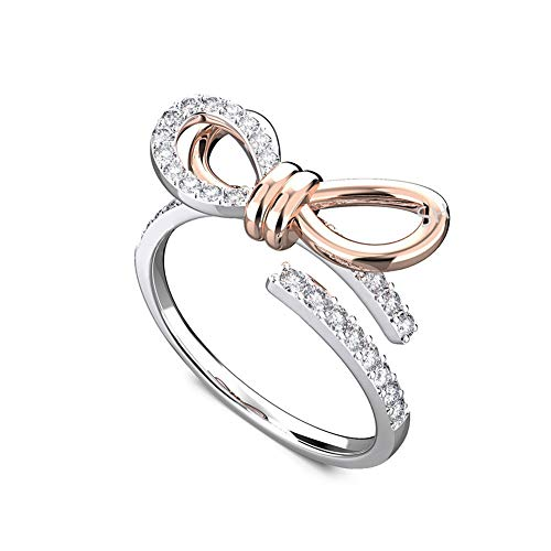 (SKA Jewelry Bow Ring for Women Cubic Zirconia Ribbon Bowknot Wedding Band Two-Tone Gold Plated Open Ring Adjustable US Size 6-9)