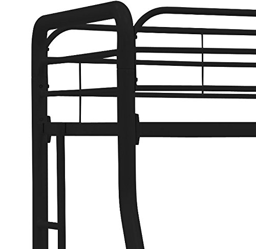 DHP Twin-Over-Full Bunk Bed with Metal Frame and Ladder, Space-Saving Design, Black by DHP (Image #7)