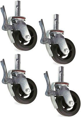 GRIP 8'' x 2'' scaffold caster wheels set of 4 1 3/8'' tube size by Grip-On