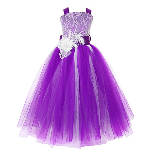 FAYBOX Pageant Wedding Flower Girl Dress Crossed Back Bow Feather Sash Fluffy 6 (Purple Tulle Flower Girl Dresses)