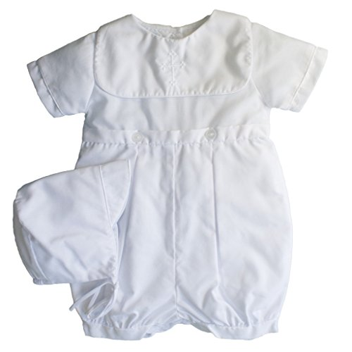 Petit Ami Baby Boys' Hand-Embroidered Cross Christening Romper, 12 Months, ()