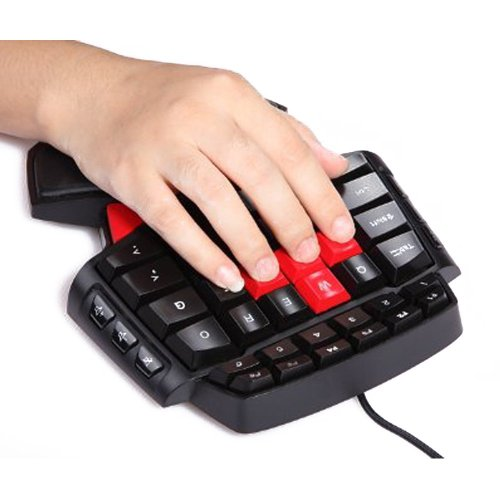 Mini Teclado Gaming Gaming Keyboard Gameboard FPS Gamer Juego de mesa Gamepad Con LED contraluces Red Cap AWSD teclas especiales para una mano CS WOW BF3 ...