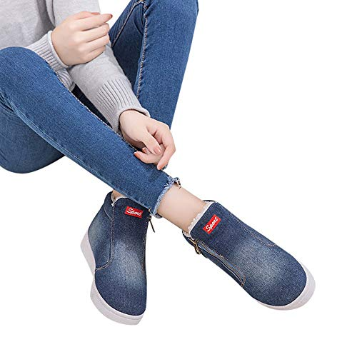 Hemlock Denim Snow Boots,Female Teen Zipper Thick Warm Flat Snow Shoes Plus Size Booties Non Slip Plush Women Boots