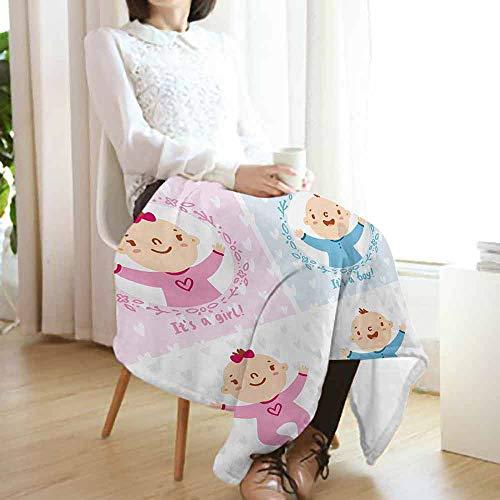 Biederlack Blue Blanket - vanfan-home Gender Reveal Summer Blanket,Baby Boy Girl Infants Newborn Celebration with Hearts Theme Lightweight Breathable Flannel Fabric Machine Washable (60