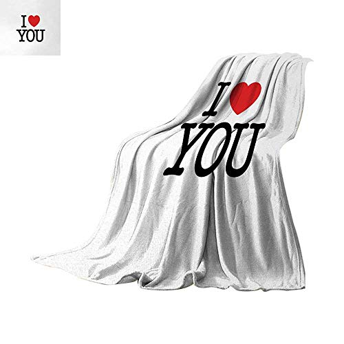 Anhuthree Love Super Soft Lightweight Blanket I Love You with Vibrant Heart Design Valentines Day Illustration Romantic Wedding Summer Quilt Comforter 62