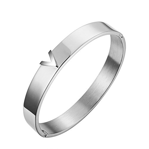 JOVO LOVE Jewelry Silver Bangle Bracelet V stainless steel bangle bracelet Gift for Women - Repo Man Costume For Sale