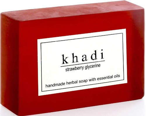 Ayurvedic Khadi Handmade Herbal Soap Made with Pure Fruit and Vegetable Oils 125gm (STRAWBERRY SOAP)