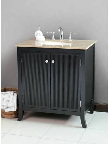 Amazon Com Strasbourg Single 33 5 Bathroom Vanity In Black Vanity Top Finish Cream Marfil Kitchen Dining