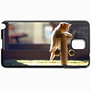 Personalized Protective Hardshell Back Hardcover For Samsung Note 3, Cute Kitten Playing Design Design In Black Case Color