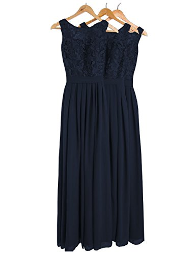 DYS Women's Lace Bridesmaid Dress Long Prom Evening Dresses Jewel Neck Navy US 18Plus