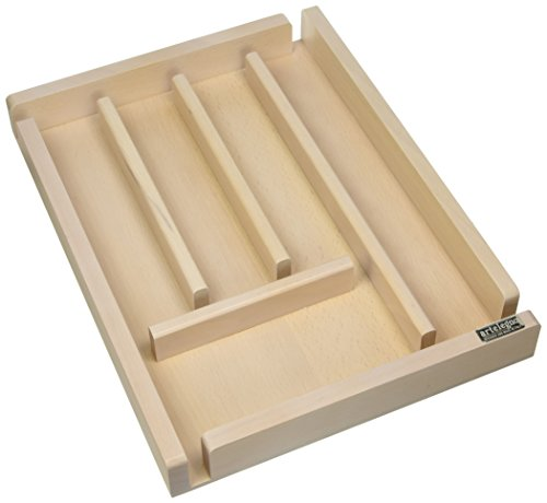 Artelegno Solid Beech Wood 5 Compartment Cutlery Storage or Flatware Holder, Luxurious Italian Collection by Master Craftsmen Stores High-End Eating Utensils, Eco-friendly, Whitewash - Cutlery Tray Beechwood