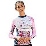 Sttech1 Women Floral Long Sleeve UV Protection One Piece Rash Guard Swimsuit Sun Protection Surfing Swimwear Bathing Suits