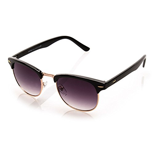 NYS Collection Park Row Vintage Sunglasses, Black & Gold Frame/Smoke - Sunglasses Row The