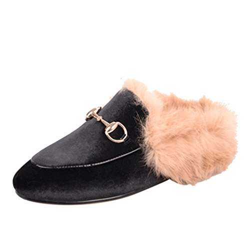 Womens Female Slip Slipper Leather Casual Flats Loafer AIWEIYi Genuine Real Fur Shoes Blk01 On Women qwffYZ1