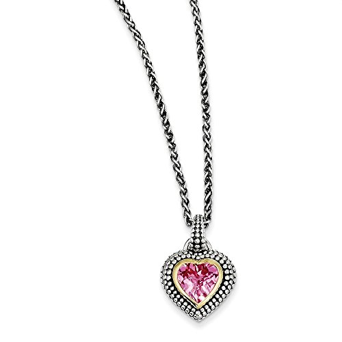 Mia Diamonds Sterling Silver with 14k Gold with 8mm Created Pink Simulated Sapphire Necklace -18
