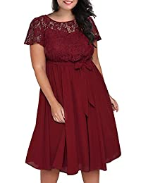 Nemidor Women's Scooped Neckline Floral lace Top Plus Size Cocktail Party Midi Dress