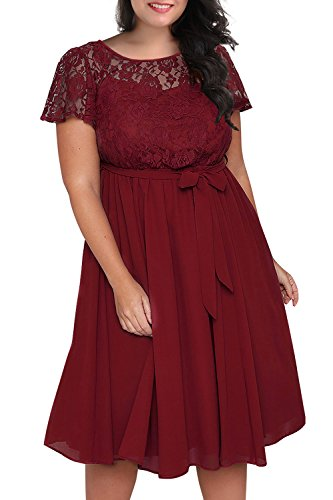 Nemidor Women's Scooped Neckline Floral lace Top Plus Size Cocktail Party Midi Dress (24W, Wine Red)