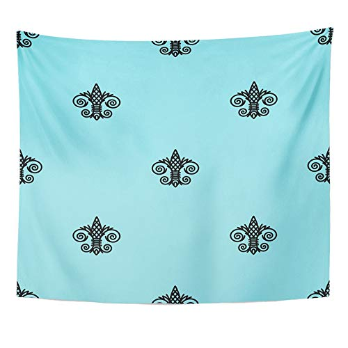 (Emvency Tapestry Wall Hanging Blue Abstract Fleur De Lis Island Paradise and Black Color Antique Beautiful Polyester Fabric Home Decor for Living Room Bedroom Dorm 50x60 Inches)